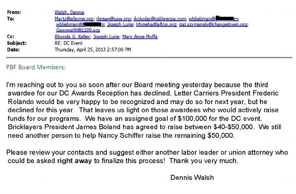 A solicitation email from NLRB Regional Director Dennis Walsh to various union officials or personnel